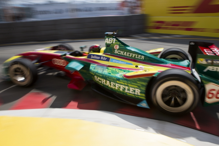 Daniel Abt heads through a turn during the New York City ePrix Formula E all-electric auto race Saturday, July 15, 2017, in the Brooklyn borough of New York. (AP Photo/Michael Noble Jr.)