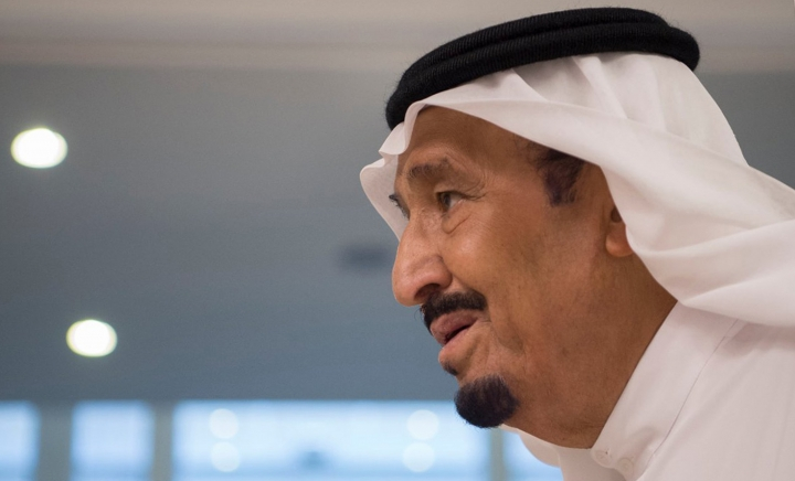 FILE- This June 6, 2017 file photo released by Saudi Press Agency, SPA, shows Saudi King Salman, in Jiddah, Saudi Arabia. Saudi Arabia's state TV said Thursday, July 20, 2017, that Salman has ordered the arrest of a young, low-level prince after video emerged online purporting to show him abusing someone. The arrest was made Wednesday morning, a day after a video was published on YouTube showing what appears to be a rifle pointed toward a man who is bleeding from the head and pleading. (Saudi Press Agency via AP, File)