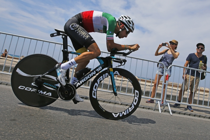 Italy's Fabio Aru rides during a reconnaissance run of the track prior to the the twentieth stage of the Tour de France cycling race, an individual time trial over 22.5 kilometers (14 miles) with start and finish in Marseille, France, Saturday, July 22, 2017. (AP Photo/Peter Dejong)