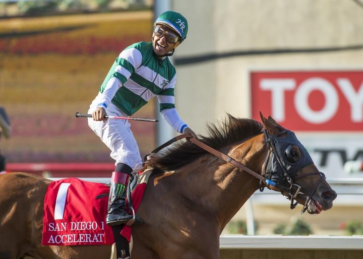 In a photo provided by Benoit Photo, Accelerate and jockey Victor Espinoza win the Grade II, $300,000 TVG San Diego Handicap horse race Saturday, July 22, 2017, at Del Mar Thoroughbred Club in Del Mar, Calif. (Benoit Photo via AP)