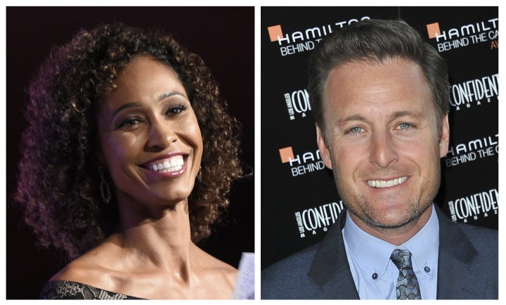 """FILE - This combination of file photos shows Sage Steele, left, at the 15th annual High School Athlete of the Year Awards in Marina del Rey, Calif., and Chris Harrison at the Hamilton """"Behind the Camera"""" Awards at the House of Blues West Hollywood, Calif. ABC said Monday, July 24, 2017, that Harrison and Steele are returning to host """"The 2018 Miss America Competition"""" that airs live from Atlantic CIty's Boardwalk on Sept. 10. (AP Photos/File)"""