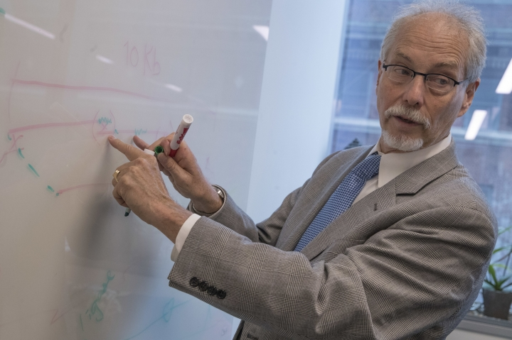 "In this Tuesday, April 25, 2017 photo, NYU School of Medicine Professor Department of Biochemistry and Molecular Pharmacology Jef D. Boeke speaks during an interview in his office at the Alexandria Center for Life Sciences in New York, where researchers are attempting to create completely man-made, custom-built DNA. The genome is the entire genetic code of a living thing. Learning how to make one from scratch, Boeke says, means ""you really can construct something that's completely new."" (AP Photo/Mary Altaffer)"