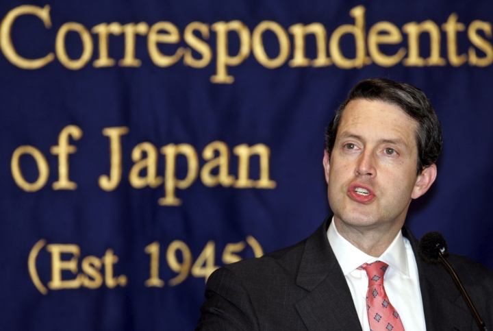 FILE - In this Thursday, March 10, 2005, file photo, Randal Quarles, U.S. assistant secretary of Treasury, speaks to journalists in Tokyo. Quarles, President Donald Trump's choice to be the Federal Reserve's vice chair for bank supervision, would likely favor reducing the capital banks must hold, easing the burden on community banks and allowing firms to do speculative trading. Quarles will likely win a Senate committee's approval Thursday, July 27, 2017. (AP Photo/Shizuo Kambayashi, File)