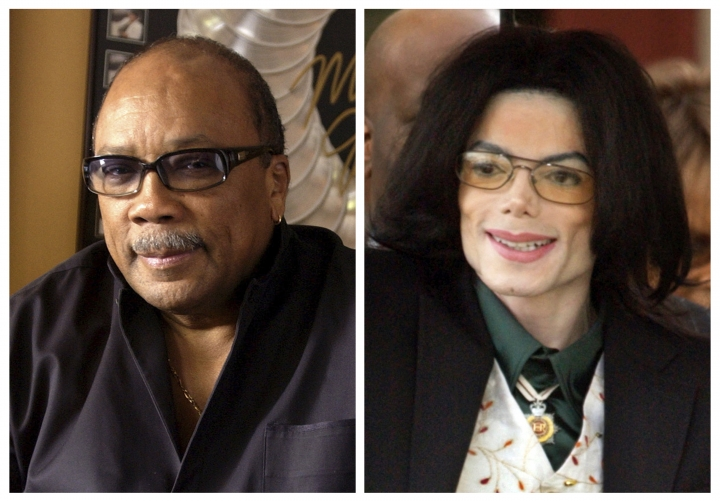 """In this combination photo, Quincy Jones appears at his home in Los Angeles, Calif., on April 9, 2004, left, and Michael Jackson arrives to court on March 2, 2005, in Santa Maria, Calif. On Wednesday, July 26, 2017, a jury found that Jackson's estate owes Jones $9.4 million in royalties and production fees from """"Billie Jean,"""" """"Thriller"""" and more of the superstar's biggest hits. (AP Photo/File)"""