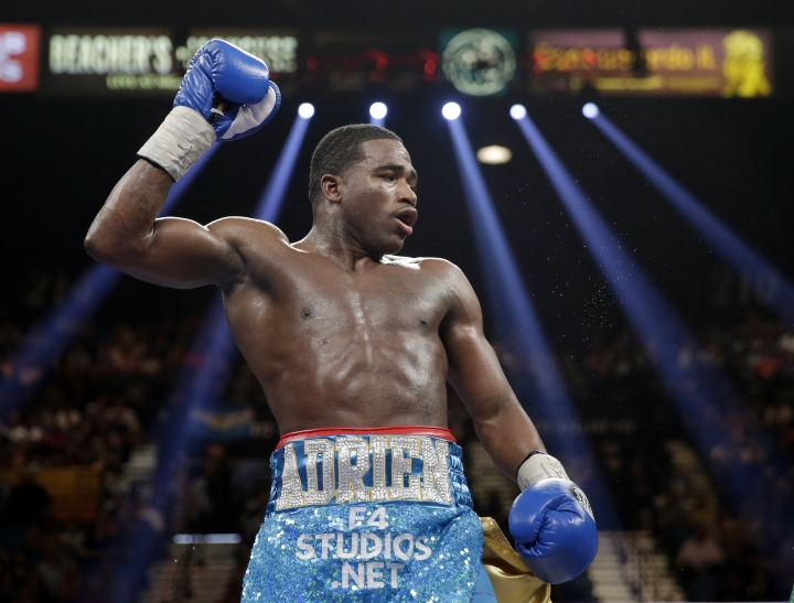 FILE - In this May 3, 2014, file photo, boxer Adrien Broner reacts during his WBA super lightweight title fight against Carlos Molina in Las Vegas. Broner has another chance - maybe his last - to prove he can still be one of boxing's brightest stars. But he has to beat undefeated Mikey Garcia, who moves up to 140 pounds for their bout Saturday, July 29, 2017, in Brooklyn, N.Y. (AP Photo/Isaac Brekken, File)