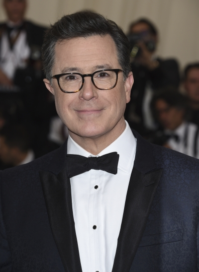 FILE - In this May 1, 2017 file photo, Stephen Colbert attends The Metropolitan Museum of Art's Costume Institute benefit gala in New York. Showtime announced that Colbert will executive produce a cartoon series about the Donald Trump White House. The 10 half-hour series, which Showtime calls a workplace comedy, will premiere in the fall. (Photo by Evan Agostini/Invision/AP, File)