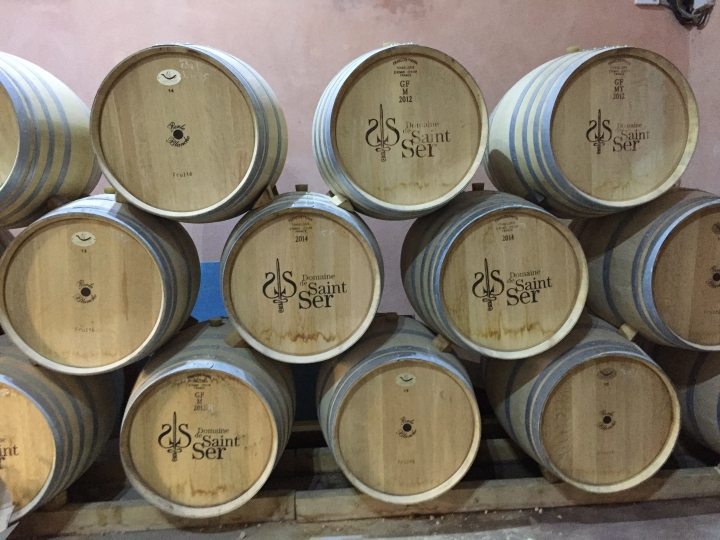 This, Sept. 19, 2016 photo shows wine barrels stacked at Domaine de Saint-Ser in Puyloubier, France. Saint-Ser typifies the small, family owned wineries scattered throughout France's Provence region. (AP Photo/Sally Carpenter Hale)
