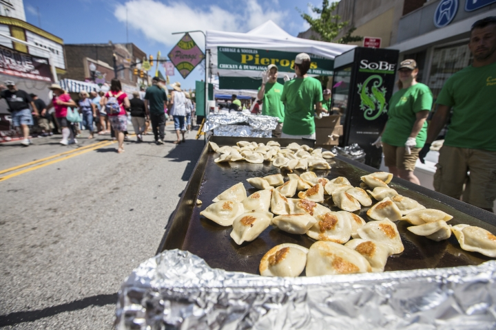 "Pierogis cook on the flat top at Conley Pierogis at a food festival in Whiting, Ind., July 28, 2017. The suburban Chicago food festival says it's justified in threatening a trademark infringement lawsuit over a Pennsylvania group's use of the name ""Pierogi Festival."" (Jim Karczewski/Chicago Tribune via AP)"
