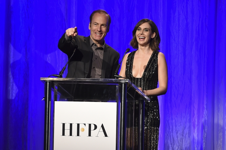Bob Odenkirk and Alison Brie speak at the Hollywood Foreign Press Association Grants Banquet at the Beverly Wilshire Hotel on Wednesday, Aug. 2, 2017, in Beverly Hills, Calif. (Photo by Jordan Strauss/Invision/AP)