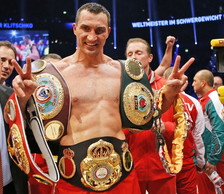 "FILE - In this Nov. 15, 2014 file photo IBF, WBA, WBO and IBO champion Wladimir Klitschko from Ukraine celebrates after winning the IBF heavyweight world championships title bout against Bulgarian boxer Kubrat Pulev in Hamburg, Germany. Former heavyweight world champion Wladimir Klitschko has announced his retirement from boxing. In a statement released by his management Thursday, Aug. 3, 2017 Klitschko says: ""As an amateur and a professional boxer, I have achieved everything I dreamed of, and now I want to start my second career after sports."" (AP Photo/Frank Augstein, file)"