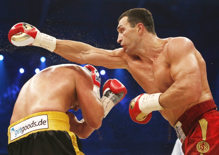 "FILE - In this May 4, 2013 photo Ukranian boxer Wladimir Klitschko, right, and German-Italian Francesco Pianeta fight each other in a WBA-, IBF,- WBO- and IBO heavyweight world championship fight in Mannheim,Germany. Former heavyweight world champion Wladimir Klitschko has announced his retirement from boxing. In a statement released by his management Thursday, Aug. 3, 2017 Klitschko says: ""As an amateur and a professional boxer, I have achieved everything I dreamed of, and now I want to start my second career after sports."" (AP Photo/Michael Probst,file)"