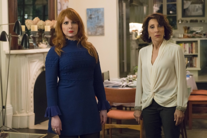 """In this image released by Hulu, Julie Klausner, left, and Andrea Martin appear in the series, """"Difficult People."""" The Hulu comedy is packed with pop-culture references, befitting Klausner's life-long passion for TV and movies. (Barbara Nitke/Hulu via AP)"""