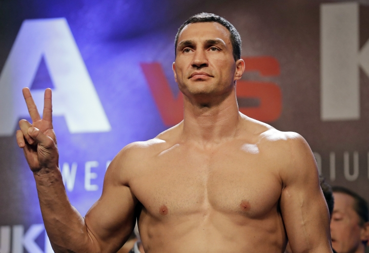 FILE - In this file photo taken on Friday, April 28, 2017, Ukrainian 41-year-old boxer Wladimir Klitschko, gestures as he takes part in the weigh-in for his fight against Britain's Anthony Joshua at Wembley Arena in London, Friday, April 28, 2017. Former heavyweight champion Wladimir Klitschko announced Thursday, Aug. 3, 2017 his retirement from boxing. (AP Photo/Matt Dunham, file)
