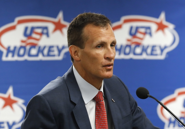 Tony Granato speaks during a news conference in Plymouth, Mich., Friday, Aug. 4, 2017. USA Hockey announced that Wisconsin's Tony Granato will coach the U.S. men's hockey team at the 2018 Olympics, the first Winter Games without NHL players since 1994. (AP Photo/Paul Sancya)