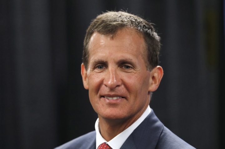 Tony Granato speaks during a news conference in Plymouth, Mich., Friday, Aug. 4, 2017. USA Hockey announced that Tony Granato will coach the U.S. men's hockey team at the 2018 Olympics, the first Winter Games without NHL players since 1994. (AP Photo/Paul Sancya)