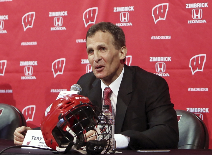 FILE - In this March 30, 2016, file photo, Tony Granato speaks at a press conference where he was introduced as the new head coach for the University of Wisconsin men's hockey team, in Madison, Wisc. A person familiar with the decision says Tony Granato will coach the United States men's hockey team at the 2018 Olympics. The person who spoke to The Associated Press on condition of anonymity because the coaching staff has not been announced. (AP Photo/Wisconsin State Journal, Amber Arnold, File)