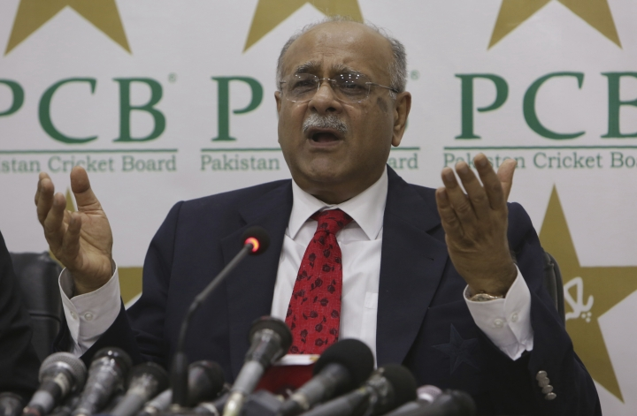 Najam Sethi of Pakistan Cricket Board addresses a news conference in Lahore, Pakistan. Wednesday, Aug. 9, 2017. Najam Sethi has been elected Wednesday, as new chairman of the Pakistan Cricket Board for a three-year term. Sethi, 69, will replace Shaharyar Khan, who has resigned due to health and personal reasons after completing his tenure.(AP Photo/K.M. Chaudary)