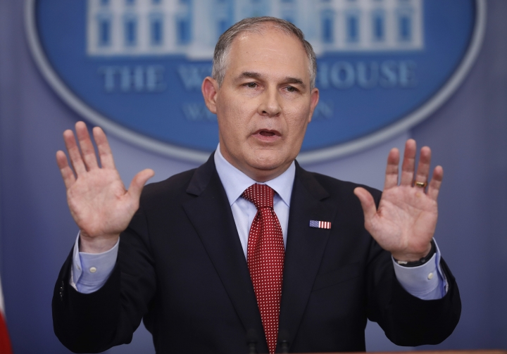 FILE - In this June 2, 2017, file photo, EPA Administrator Scott Pruitt speaks to the media during the daily briefing in the Brady Press Briefing Room of the White House in Washington. President Donald Trump and his Cabinet often avoid talking about the science of climate change, but when pressed what they have said clashes with established mainstream science, data and peer-reviewed studies and reports. (AP Photo/Pablo Martinez Monsivais, File)