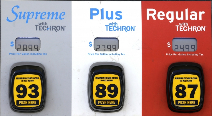 This Wednesday, May 3, 2017, photo shows a gas pump at a Chevron station in Miami. On Thursday, Aug. 10, 2017, the Labor Department reports on U.S. producer price inflation for July. (AP Photo/Alan Diaz)