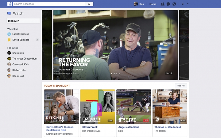 This image provided by Facebook shows a screenshot demonstrating Facebook's new Watch feature, which is dedicated to live and recorded video. The idea is to have fans commenting and interacting with the videos. The new Watch section is a potential threat to Twitter, YouTube, Netflix and other services for watching video. (Courtesy of Facebook via AP)
