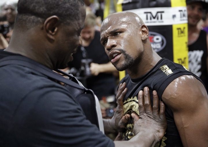 Floyd Mayweather Jr. jokes around while training at his gym Thursday, Aug. 10, 2017, in Las Vegas. Mayweather is scheduled to fight Conor McGregor later this month. (AP Photo/John Locher)