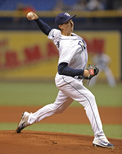Tampa Bay Rays starter Blake Snell pitches against the Cleveland Indians during the first inning of a baseball game Thursday, Aug. 10, 2017, in St. Petersburg, Fla. (AP Photo/Steve Nesius)