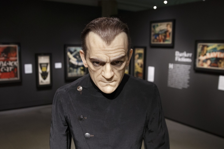In this Wednesday, Aug. 9, 2017 photo, a life-size silicone figure of Boris Karloff is displayed at the Peabody Essex Museum in Salem, Mass. A new exhibition opening Saturday, Aug. 12 at the museum features 135 works from Metallica guitarist Kirk Hammett's collection of classic horror and sci-fi movie posters and memorabilia, including some Hammett says have inspired his music. (AP Photo/Michael Dwyer)