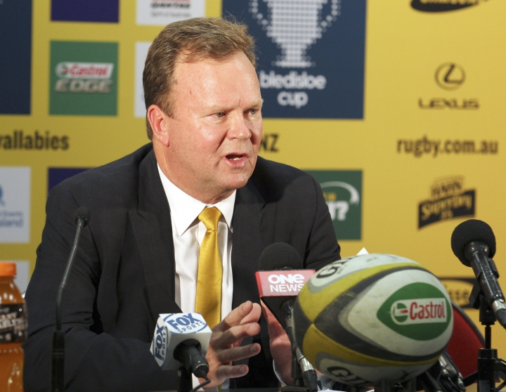 FILE - In this Oct. 18, 2014, file photo, Australian Rugby Union Chief Executive Bill Pulver speaks during a press conference in Brisbane, Australia. The Australian Rugby Union (ARU) confirmed Friday, Aug. 11, 2017, it plans to cut the Western Force as part of its commitment to a revamped Super Rugby competition for 2018. The ARU agreed to cut one of its five franchises during a meeting of Super Rugby stakeholders in April, when it was decided to reduce the competition from 18 clubs to 15 for next season. (AP Photo/Tertius Pickard, File)