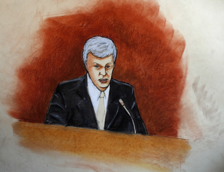 In this sketch provided by courtroom artist Jeff Kandyba, former radio host David Mueller appears in federal court Tuesday, Aug. 8, 2017, in Denver. Pop singer Taylor Swift alleges that Mueller touched her during a concert meet-and-greet in 2013. The case went to court after Mueller sued Swift, claiming her false accusation cost him his job. He is seeking at least $3 million in damages. Swift countersued, claiming sexual assault. (AP Photo/Jeff Kandyba)