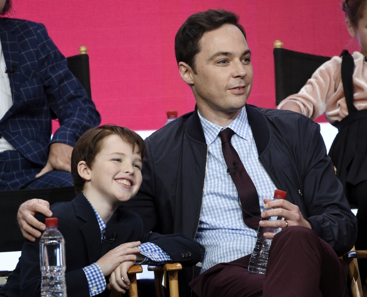 """Iain Armitage, left, a cast member in the CBS series """"Young Sheldon,"""" and executive producer/narrator Jim Parsons take part in a panel discussion during the 2017 Television Critics Association Summer Press Tour on Tuesday, August 1, 2017, in Beverly Hills, Calif. (Photo by Chris Pizzello/Invision/AP)"""