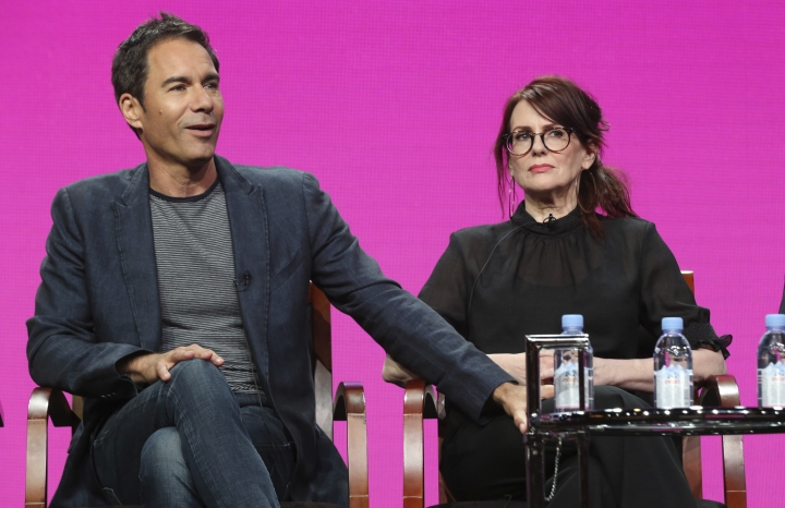 """Eric McCormack, left, and Megan Mullally participate in the """"Will & Grace"""" panel during the NBC Television Critics Association Summer Press Tour at the Beverly Hilton on Thursday, Aug. 3, 2017, in Beverly Hills, Calif. (Photo by Willy Sanjuan/Invision/AP)"""