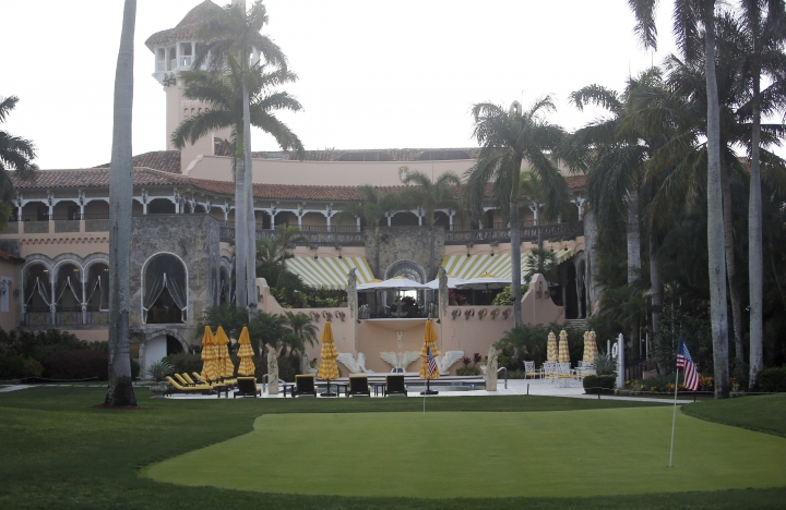 FILE - In this April 15, 2017 file photo, President Donald Trump's Mar-a-Lago estate in Palm Beach, Fla. As President Donald Trump spends much of August at his New Jersey golf club, Democratic lawmakers are making a new push for information about how much money the federal government is spending at his for-profit properties. Democrats on the House Oversight Committee are asking that departments hand over information about their Trump-related spending by Aug. 25. (AP Photo/Alex Brandon, File)