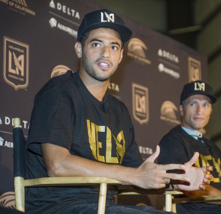Los Angeles FC introduces Carlos Vela, of Mexico, as the first designated player in LAFC history at an MLS soccer news conference in Los Angeles, Friday, Aug. 11, 2017. (Walt Mancini/Los Angeles Daily News via AP)