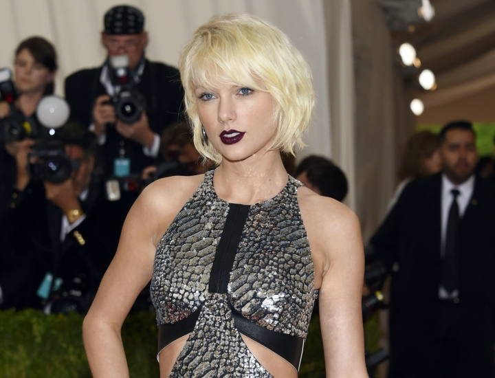 FILE - In this May 2, 2016 file photo, Taylor Swift arrives at The Metropolitan Museum of Art Costume Institute Benefit Gala in New York. The trial of a lawsuit between Swift and David Mueller, a former radio host she accuses of groping her, begins Monday, Aug. 7, 2017, in U.S. District Court in Denver. (Photo by Evan Agostini/Invision/AP, File)