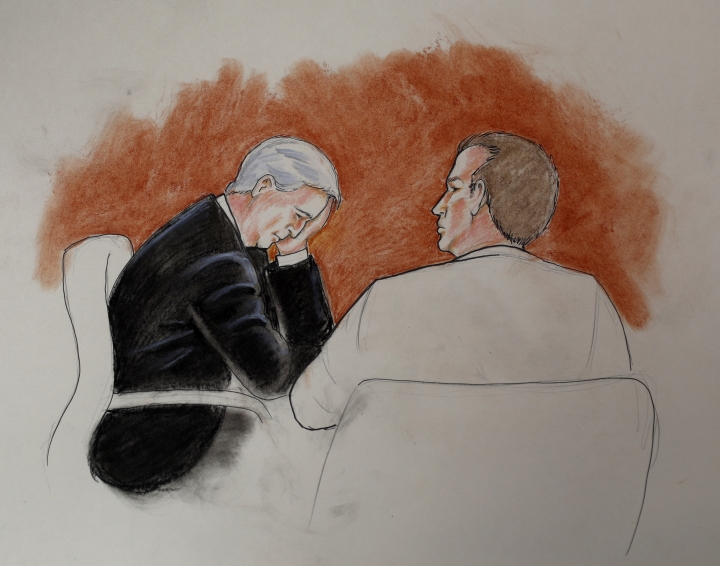 In this courtroom sketch, defendant David Mueller, a former radio DJ, left, sits with his attorney during a trial Thursday, Aug. 10, 2017, in Denver. Taylor Swift testified Thursday that Mueller reached under her skirt and intentionally grabbed her backside during a meet-and-a-greet photo session before a 2013 concert in Denver. (Jeff Kandyba via AP)