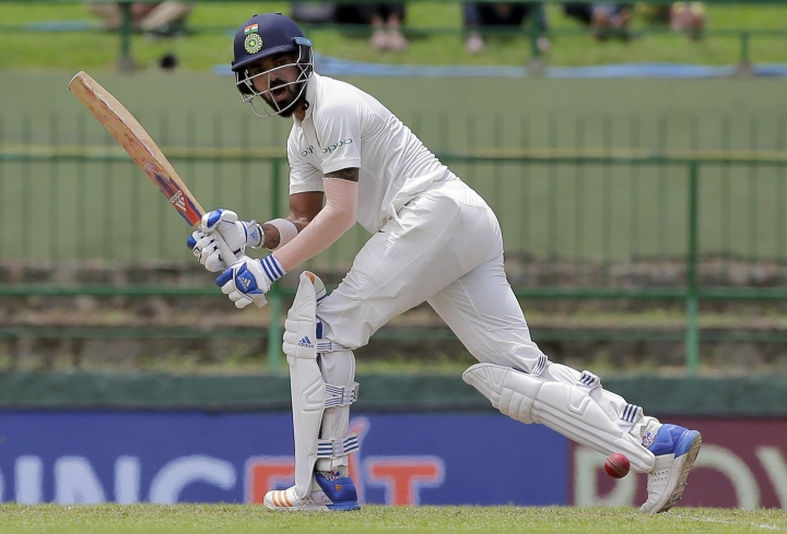 India's Lokesh Rahul plays a shot during the first day's play of their third cricket test match against Sri Lanka in Pallekele, Sri Lanka, Saturday, Aug. 12, 2017. (AP Photo/Eranga Jayawardena)