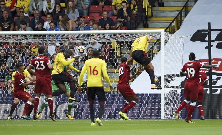 Watford's Stefano Okaka scores his side's first goal during the English Premier League soccer match at Vicarage Road, Watford, England, Saturday, August 12, 2017. (Daniel Hambury/PA via AP)