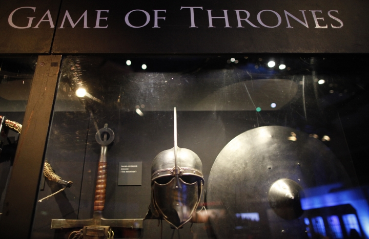 FILE - This is a Tuesday, June 10, 2014 file photo of weapons from the Game of Thrones are on display at the Waterfront Hall, Belfast, Northern Ireland. HBO in Spain has aired, apparently by accident, episode six of the seventh season of the immensely popular series, Game of Thrones, a week ahead of schedule. The episode was available to Spanish subscribers early Tuesday aug. 15, 2017, for about an hour before being removed. (AP Photo/Peter Morrison, File)