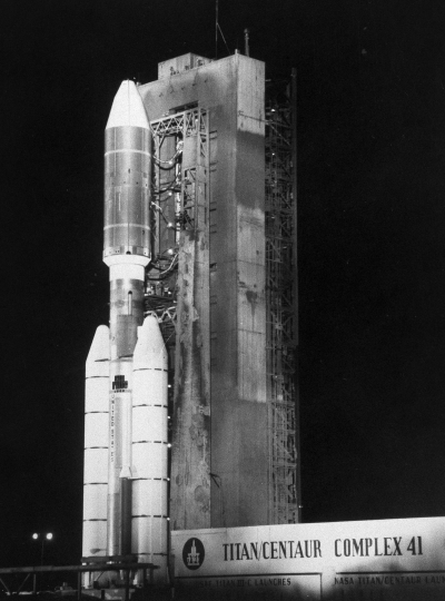 FILE - In this Aug. 20, 1977 photo provided by NASA, a Titan/Centaur 7 rocket stands ready at the launch pad with the 1,800-pound Voyager spacecraft at the Kennedy Space Center in Florida. The spacecraft departed from Cape Canaveral to explore Jupiter and Saturn. (AP Photo/NASA)