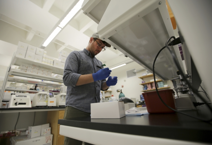 Ph.D. candidate Frank Wendt prepares to run a DNA test at the Center for Human Identification research and development lab at the University of North Texas on Monday, July 31, 2017, in Fort Worth, Texas. The university's case lab, which tests DNA for missing people and unidentified dead, has temporarily stopped accepting out-of-state samples after the National Institute of Justice opted not to offer millions of dollars in grants for DNA technology to identify missing people. (AP Photo/Jaime Dunaway)