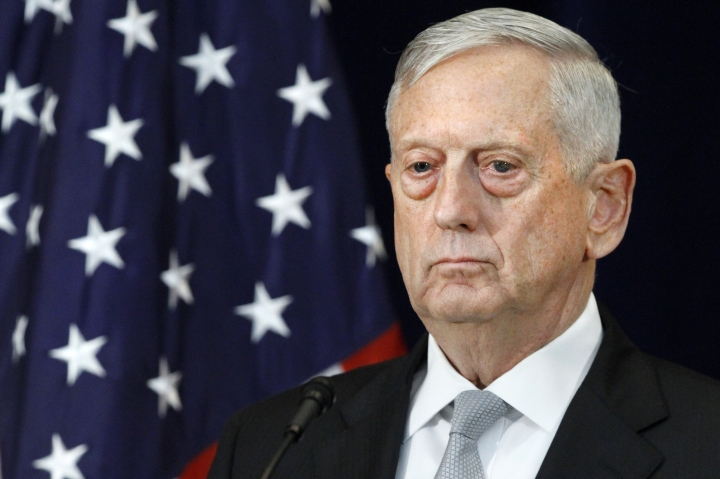 Defense Secretary James Mattis attends a news conference, Thursday, Aug. 17, 2017, at the State Department in Washington. (AP Photo/Jacquelyn Martin)