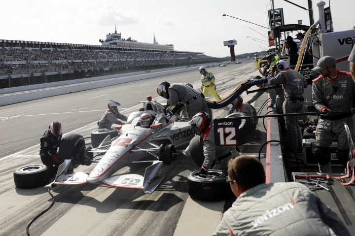 Will Power pits during the IndyCar auto race at Pocono Raceway, Sunday, Aug. 20, 2017, in Long Pond, Pa. Power went on to win the race. (AP Photo/Matt Slocum)