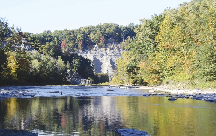 This Oct. 12, 2016, photo shows the Cattaraugus Creek through the Erie County side of Zoar Valley in Gowanda, N.Y. When a Buffalo, New York, family left for a weekend outing, they headed for the Zoar Valley Gorge. But a summer hike turned tragic when both parents, Amanda and William Green, were found dead Sunday, Aug. 20, 2017, at the bottom of a gorge, and both of their young sons were hospitalized. (Rick Miller/Times Herald via AP)
