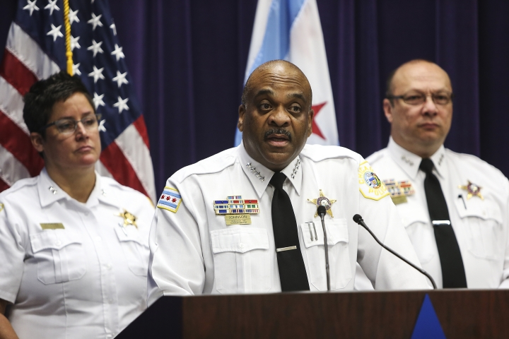 Chicago Police Superintendent Eddie Johnson, center, speaks about the charges against Andrew Warren and Wyndham Lathem during a news conference at the Chicago Police Department headquarters on Sunday, Aug. 20, 2017. The two employees of elite universities charged in the fatal stabbing of a 26-year-old hair stylist were due in court Sunday after being returned to Chicago to face charges of first-degree murder in the brutal killing. (Alexandra Wimley/Chicago Tribune via AP)
