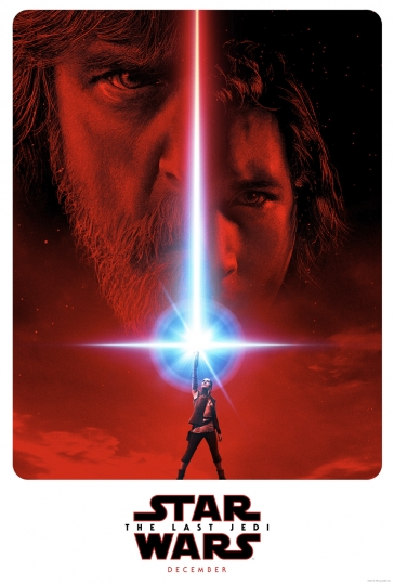 "This image released by LucasFilm shows a promotional poster for the upcoming ""Star Wars: The Last Jedi,"" film to be released in December. Fans are about to get a glimpse at a new character as a part of a three-day marketing roll out of toys and products inspired by the film. The global event, dubbed Force Friday II, will run from Sept. 1 through Sept. 3. (LucasFilm/Disney via AP)"