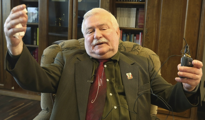 FILE - In this April 16, 2016 file photo, Poland's former president and democracy icon Lech Walesa speaks to The Associated Pressin Gdansk, Poland. Poland's special prosecutors say Tuesday Aug. 22, 2017 they are currently investigating whether Walesa made false statements during sworn testimony some months ago. (AP Photo/Czarek Sokolowski)