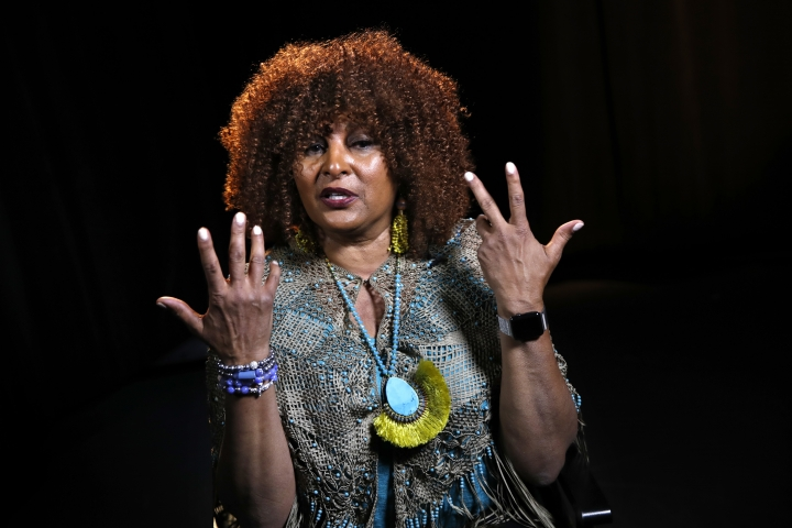 """In this photo taken Aug. 25, 2017, actress Pam Grier is interviewed by The Associated Press in Washington. Grier is still going strong in an almost 50 year movie and television career. In an interview with The Associated Press last week, she discussed some of the changes in Hollywood and the return of the female action movie star. """"I don't know why people were surprised at the success of 'Wonder Woman,'"""" said Grier, star of gritty 1970s action movies like """"Foxy Brown,"""" """"Coffy,"""" """"Black Mama/White Mama,"""" and others.(AP Photo/Jacquelyn Martin)"""
