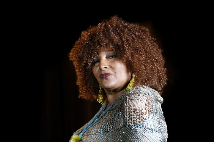"In this photo taken Aug. 25, 2017, actress Pam Grier is interviewed by The Associated Press in Washington. Grier is still going strong in an almost 50 year movie and television career. In an interview with The Associated Press last week, she discussed some of the changes in Hollywood and the return of the female action movie star. ""I don't know why people were surprised at the success of 'Wonder Woman,'"" said Grier, star of gritty 1970s action movies like ""Foxy Brown,"" ""Coffy,"" ""Black Mama/White Mama,"" and others. (AP Photo/Jacquelyn Martin)"