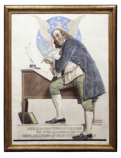 This undated photo provided by Profiles in History shows a Norman Rockwell painting of Benjamin Franklin owned by Debbie Reynolds, which will be among the items offered at an auction of the actress' possessions in October 2017. The painting, which shows Franklin signing the Declaration of Independence, has been on loan to the Norman Rockwell Museum in Stockbridge, Mass., since December 2015. (Profiles in History via AP)