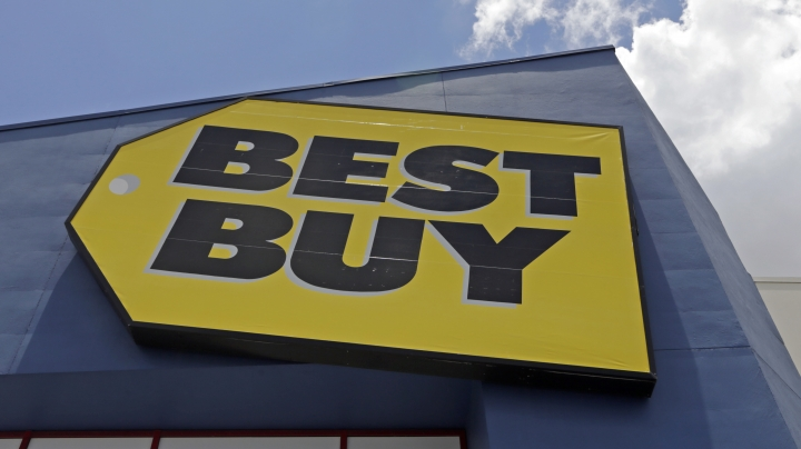 This Monday, May 22, 2017, photo shows a Best Buy sign at a store in Hialeah, Fla. Best Buy Co., Inc. reports earnings, Tuesday, Aug. 29, 2017. (AP Photo/Alan Diaz)